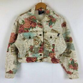 D'MILL カラーデニムジャケット デニムジャケット お花 レタリング 90年代 ホワイト系 レディースS