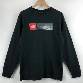 【古着】 THE NORTH FACE ノースフェイス プリントTシャツ 長袖 ブラック系 メンズM 【中古】 n024201