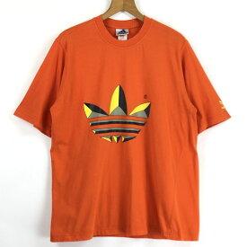 【古着】 adidas アディダス ロゴプリントTシャツ 万国旗タグ 90年代 オレンジ系 メンズL 【中古】 n024236