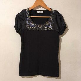 ビアッジョブルー Viaggio Blu ニット、セーター 半袖 襟、胸にビジュー、袖素材切り替え【USED】【古着】【中古】 10010851