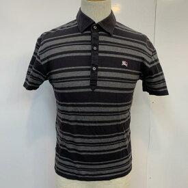 BURBERRY BLACK LABEL バーバリーブラックレーベル 半袖 ポロシャツ Polo Shirt ボーダー ワンポイント【USED】【古着】【中古】10026082