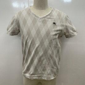 BURBERRY BLACK LABEL バーバリーブラックレーベル 半袖 Tシャツ T Shirt Vネック アーガイル柄 ワンポイント【USED】【古着】【中古】10030151【rss200315】
