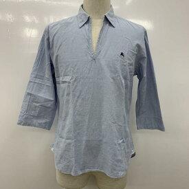 BURBERRY BLACK LABEL バーバリーブラックレーベル 七分袖 シャツ、ブラウス Shirt, Blouse 無地 ワンポイント ストライプ【USED】【古着】【中古】10030351