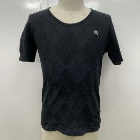 BURBERRY BLACK LABEL バーバリーブラックレーベル 半袖 Tシャツ T Shirt 無地 アーガイル柄 ワンポイント【USED】【古着】【中古】10030454【rss200315】
