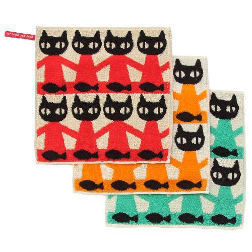 ATSUKO MATANO(マタノアツコ)黒猫ブラザーズ ハンカチタオル オレンジ・グリーン(レッドは完売です)【メール便も可能】