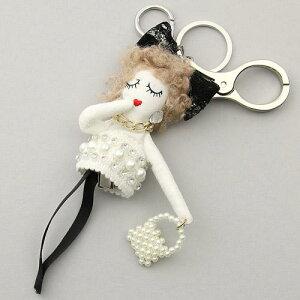 ドールタオルクリップチャーム リボンパール 人形チャーム マスク・タオル ホルダー ホワイト (バッグチャーム)(キーホルダー/ドールチャーム)[メール便とネコポス不可](お取り寄