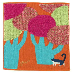 モリタ ミウ【morita Miw/森田MiW】 ガーゼパイルハンカチ ネコと大きな街路樹【メール便対応】