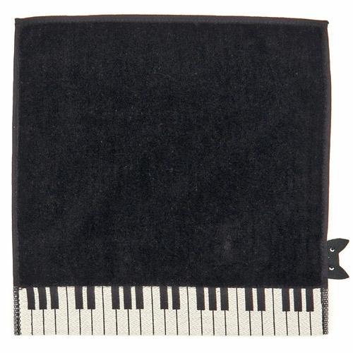 ATSUKO MATANO(マタノアツコ) ひょっこり黒猫(猫ふんじゃった柄) ピアノ鍵盤 タオルハンカチ ブラック