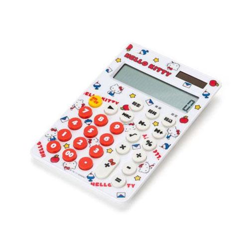 【サンリオ】ハローキティ 電卓 チラシ ホワイト(12桁/税計算機能付き/太陽電池/ボタン電池)【ネコポスも可能】