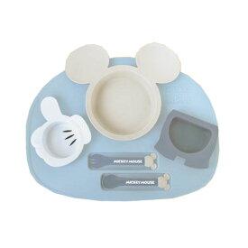 【Disney/ディズニー】ミッキー アイコン ランチプレート ブルー ベビー食器セット(電子レンジOK/食洗機・乾燥機OK)[宅配便配送(メール便とネコポスは不可)]