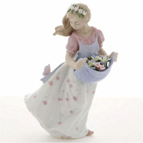 ポーセリン人形 スカートに蝶 少女 置物【お取り寄せ商品(通常3日程度)】[宅配便配送(メール便とネコポスは不可)]