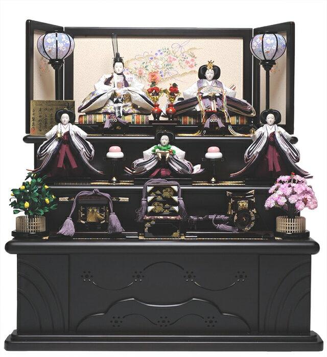 【雛人形】【雛人形 五人飾】【雛人形三段飾り】京九番親王六寸官女:彩華雛:平安翠泉作【ひな人形】