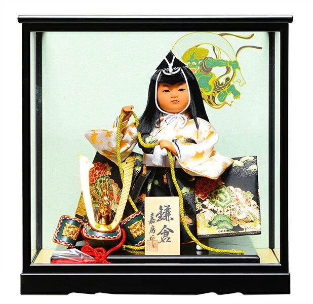 【五月人形】【ご進物ケース】7号鎌倉:兜曳:嘉房作【武者人形】