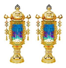 【盆提灯・盆ちょうちん】【送料無料!】霊前灯 7号 バブル灯ブルーヨーラク付:一対