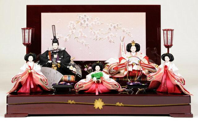 【雛人形 五人飾】【雛人形】 三段飾京十番親王六寸官女揃:桜蘭雛:伏見屋監修【ひな人形】