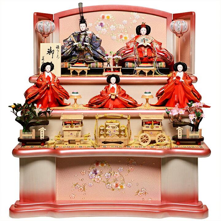【雛人形】【雛人形 五人飾】【雛人形三段飾り】十番親王三五官女:桜小町雛:美光作【ひな人形】