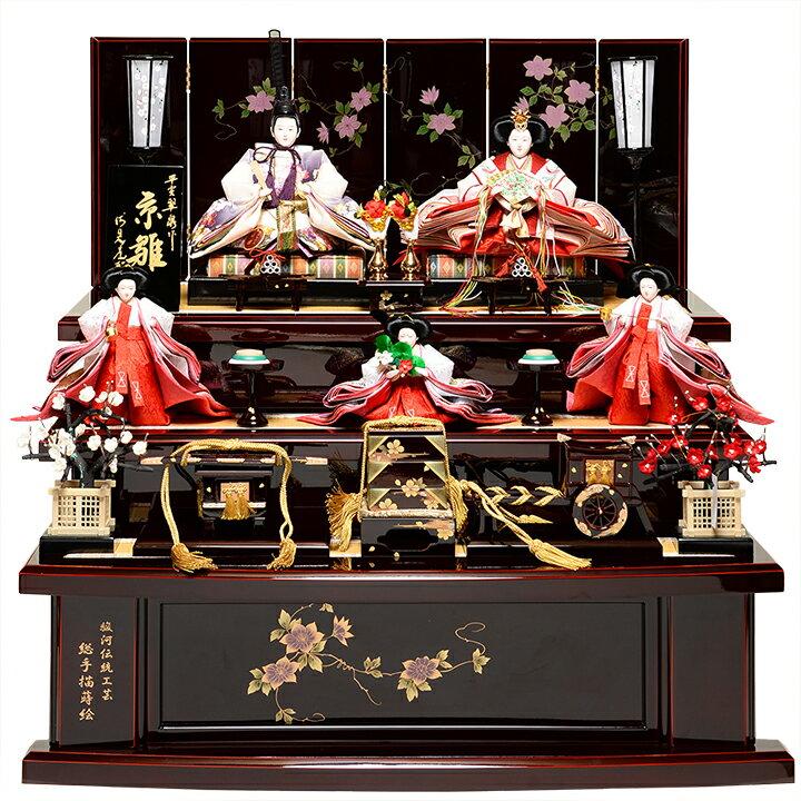 【雛人形】【三段飾】京十番親王六寸官女:京の桜雛:平安翠泉作【ひな人形】【雛人形 五人飾】