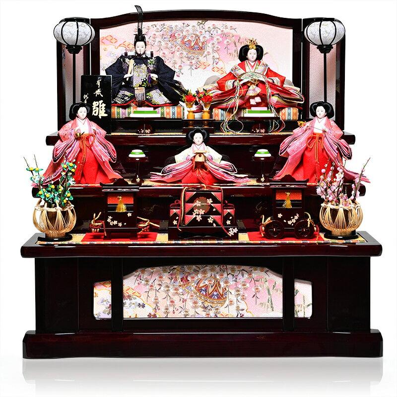 【雛人形】【雛人形 五人飾】【雛人形三段飾り】十番親王・三五官女揃:花園雛:伏見屋監修【ひな人形】