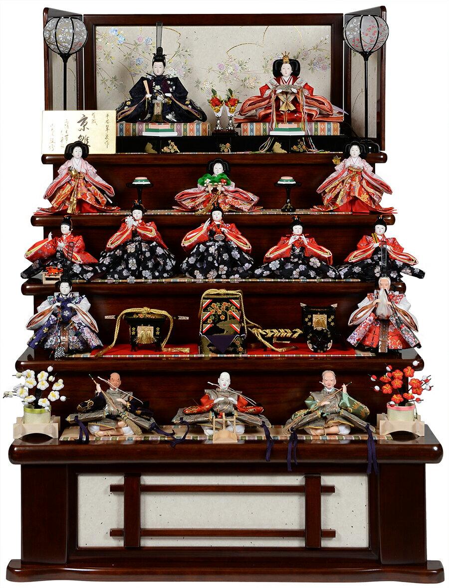 【ひな人形】【五段飾】京の宴雛:京三五親王芥子十三人飾:平安翠泉作【雛段飾】