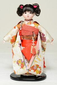 【ひな人形】【市松人形】市松人形10号市松人形:雪輪に菊柄お衣裳:翠泉作【膨れ織市松人形】【浮世人形】