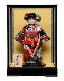 【市松人形】市松人形13号市松人形:京友禅衣裳:ケース入【カールに花飾】:敏光作【ひな人形】【浮世人形】