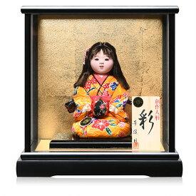 【雛人形】【ひな人形】【市松人形】5号座り手毬持木目込市松人形:漆黒塗木製ケース:芳俊作【木目込市松人形】【浮世人形】
