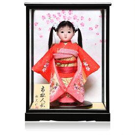 【市松人形】8号市松人形:綸子扇面に桜刺繍衣裳ケース付【ツインテール】:敏光作【ひな人形】【浮世人形】