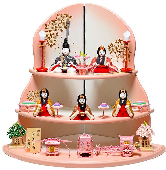 【雛人形】【木目込五人飾】木目込人形:若菜雛:伏見屋監修【木目込5人飾】【ひな人形】