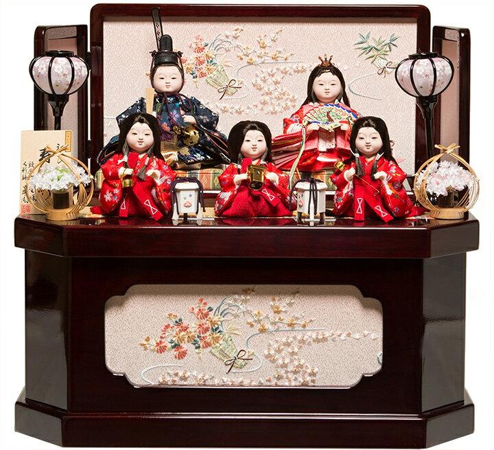 【おぼこ雛】【雛人形】【収納飾】京小十番親王六寸官女;収納雛:草園作【ひな人形】【五人飾】
