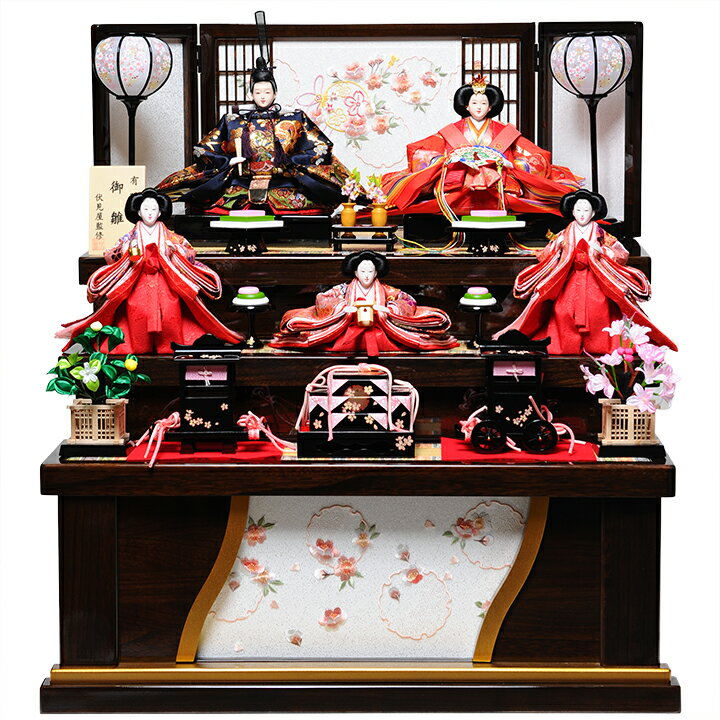 【雛人形収納三段飾】三五親王芥子官女:春奈雛:伏見屋監修【雛人形】
