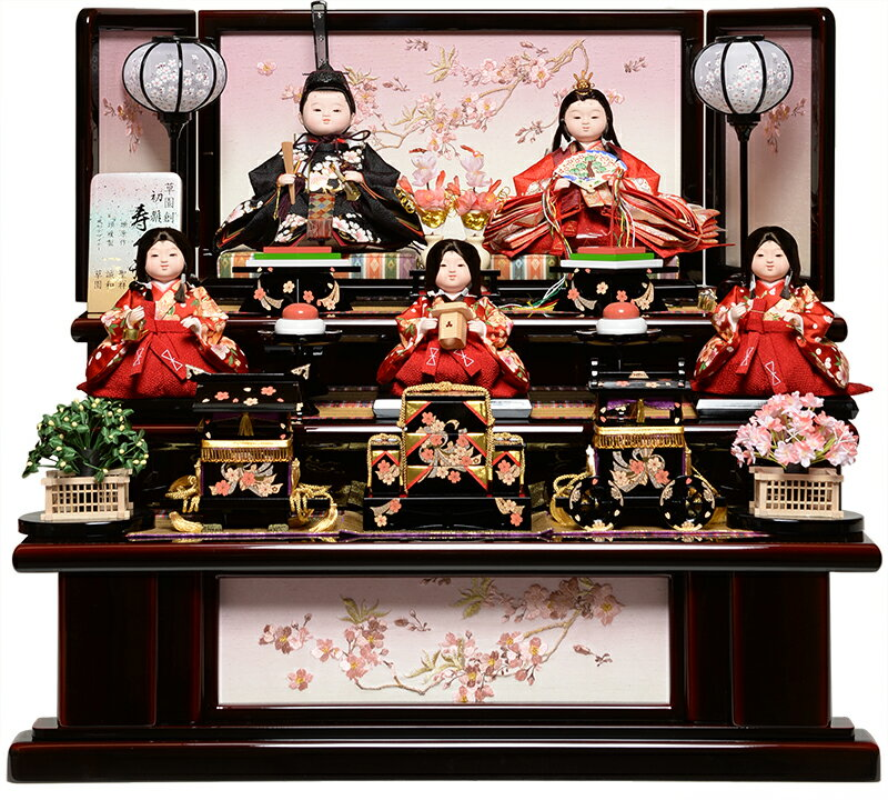 【雛人形 五人飾】【雛人形】京三五親王芥子官女おぼこ雛:春華雛:平安翠泉作【ひな人形】