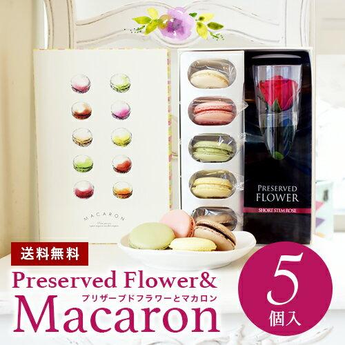 【送料無料】 プリザーブドフラワーとマカロン5個ギフトセット♪ 冷蔵便 母の日 敬老 ギフト