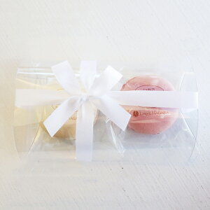 【マカロン2個入】(クリアケース&リボンラッピング) 天然着色料使用 プチギフト プレゼント 結婚式 サンクスギフト ホワイトデー バレンタイン Macaron アーモンド フランス菓