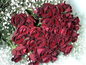告白 定番の赤バラ100本+カスミ草花束