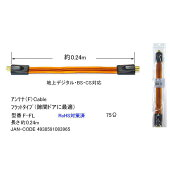 隙間アンテナケーブルF型ネジ式フイルムアンテナケーブル24cmCOMON(カモン)F-FL●フィルムタイプ75Ω●長さ:24cm