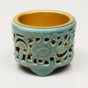 香炉 (お線香立) 透し香炉 (真宗大谷派 お東用)陶器 35 高さ8.8cm 巾10.7cm