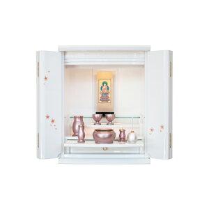 モダン仏壇 ホワイト 桜蒔絵 仏具付き 国産