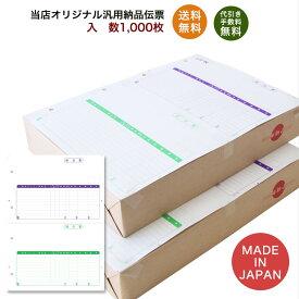 332001汎用納品伝票 1,000枚 品番:INO-2001 送料無料 代引き手数料無料 安心の日本製 オリジナル 伝票 業務用