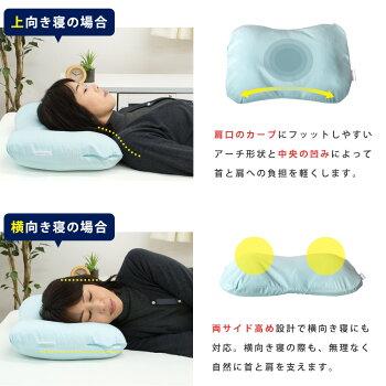 上向き寝にも横向き寝にも対応