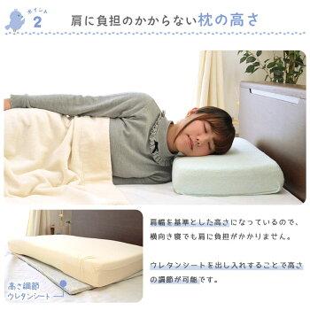 枕「ヨコムキーネ枕」約約60×35cm横向き寝【送料無料】|日本製横向き枕横向き寝用枕横向き寝フラット寝返り低反発枕カバー付きウレタンまくらピロープレゼントギフト贈り物送料無料