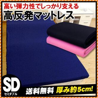 使用高回弹床垫 (120 x 200 x 5 厘米) 双床垫高弹材料 / 半 / 高弹性和低背痛