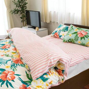 日本製綿100%枕カバーまくらwesty「ブリーズ」43×63cmカバーレギュラー63×43花柄フラワー南国トロピカルグリーンピンク国産【CTN】