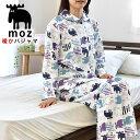moz パジャマ レディース M L 暖か 長袖長ズボン 上下セット 衿付き 半開 全開 キルト 裏綿100% 立ち衿 スタンドカラ…