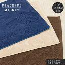 タオルバスマット 45×60cm ピースフル ミッキー peaceful mickey ディズニー disney タオル地 アイボリー ivory ネイビー navy ブラウン brown 綿100%