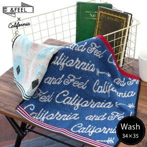 アンドフィール ウォッシュタオル 34×35cm 綿100% タオル ハンカチ ハンドタオル towel ウォッシュ オルテガ 海 ビーチ サーフ カルフォルニア おしゃれ かわいい【プチギフト】