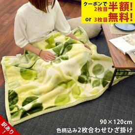 【訳あり・色柄おまかせ】(無地含む)2枚合わせマイヤーひざ掛け毛布 ゆったりサイズ 90×120cm お昼寝毛布 お昼寝ケット ブランケット 暖かい