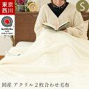 毛布 シングル 西川 2枚合わせ 眠りの恋人「ホワイト毛布」 東京西川 日本製 国産 140×200cm 衿付き 毛羽部分アクリ…