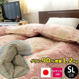◆期間限定価格◆羽毛布団 シングル ロング 150×210cm 「1403-0971」 シングルロング ロマンス ロマンス小杉 ダウン90% 増量1.2kg入 パワーアップ加工 日本製 国産