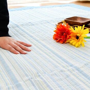 綿100%しじら織り洗えるラグカーペットラグマット夏夏用180×2403畳3帖ウォッシャブル洗えるラグ滑り止め付き春ストライプ模様ブルーグリーンリビングダイニングおしゃれかわいい長方形インテリア絨毯【あす楽対応】