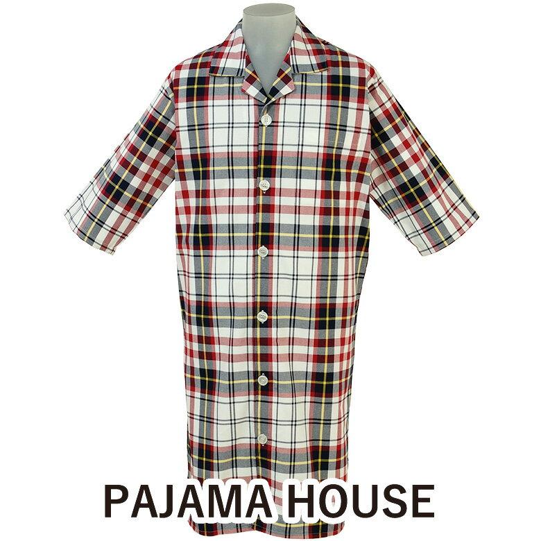 【pajama house】パジャマハウス 先染マドラスチェック七分袖メンズスリーパー 男性用 カラー:レッド (日本製) 前開きタイプ 羽織り 寝間着 綿100% パジャマ・ナイトウェア関連商品 【あす楽対応】